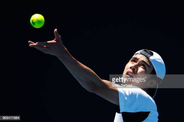 Taro Daniel of Japan serves in his first round match against Julien Benneteau of France on day two of the 2018 Australian Open at Melbourne Park on...