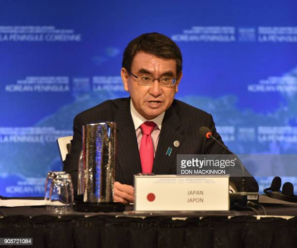 Taro Kono Japan's Foreign Affairs Minister gives opening remarks at the 'Vancouver Foreign Ministers Meeting on Security and Stability on the Korean...