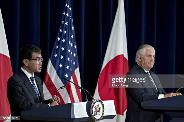 Taro Kono Japan's foreign minister left speaks as Rex Tillerson US secretary of State listens at a news conference during the Security Consultative...