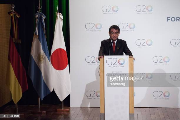 Taro Kono Japan's foreign minister listens during a press conference at the G20 Summit in Buenos Aires Aires Argentina on Monday May 21 2018 The G20...