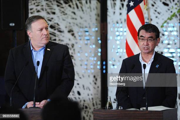 Taro Kono Japan's foreign minister right speaks during a news conference with Mike Pompeo US secretary of state left and Kang Kyungwha South Korea's...