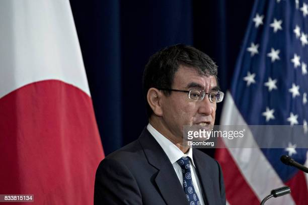 Taro Kono Japan's foreign minister speaks at a news conference during the Security Consultative Committee meeting at the State Department in...
