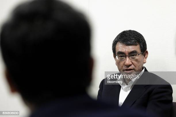 Taro Kono Japan's foreign minister speaks during an interview at the Ministry of Foreign Affairs in Tokyo Japan on Tuesday Aug 22 2017 Kono said...