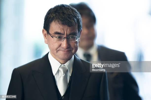 Taro Kono newlyappointed foreign minister of Japan arrives at the Prime Minister's official residence in Tokyo Japan on Thursday Aug 3 2017 Japanese...