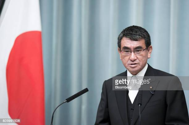 Taro Kono newlyappointed foreign minister of Japan speaks during a news conference at the Prime Minister's official residence in Tokyo Japan on...
