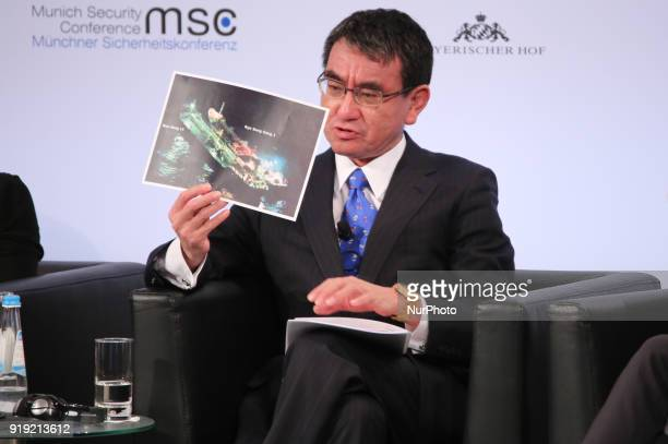 Taro Kono showing a picture of North Corea's arms The prime minister of the Netherlands Mark Rutte Tar Kno Minister for Foreign Affairs of Japan...