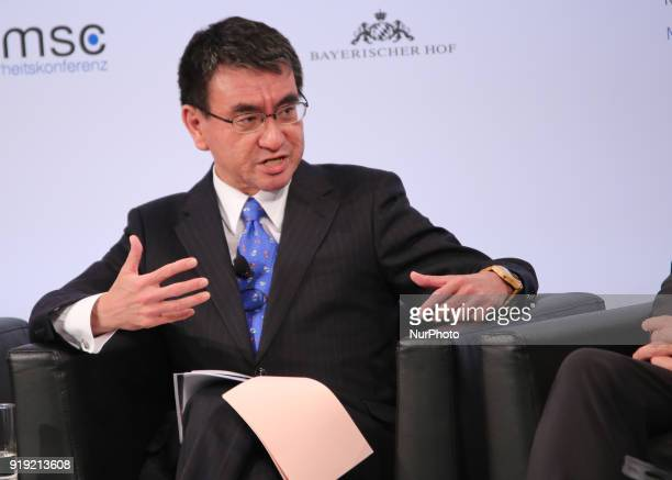 Taro Kono talking at the panel The prime minister of the Netherlands Mark Rutte Tar Kno Minister for Foreign Affairs of Japan Canada's Minister of...