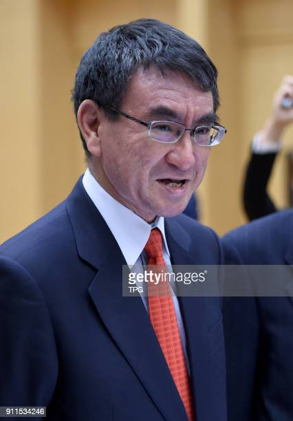 Taro Kono the foreign ministers of Japan visits China on 28th January 2018 in Beijing China