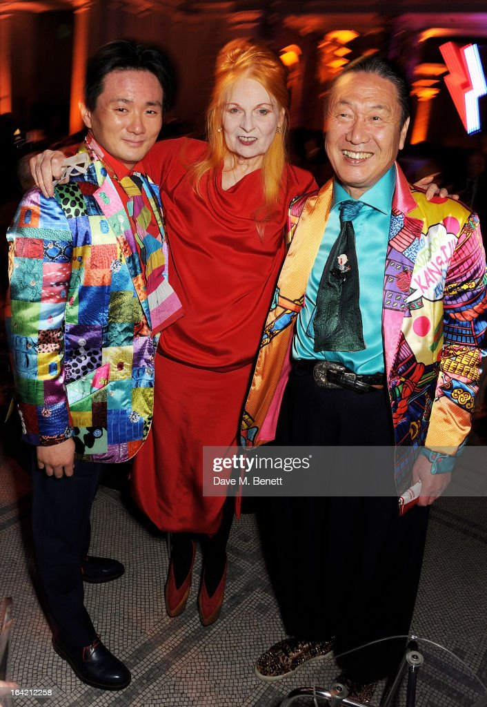 (L to R) Taro Otsuka, Dame Vivienne Westwood and Kansai Yamamoto attend the dinner to celebrate The David Bowie Is exhibition in partnership with Gucci and Sennheiser at the Victoria and Albert Museum on March 19, 2013 in London, England.