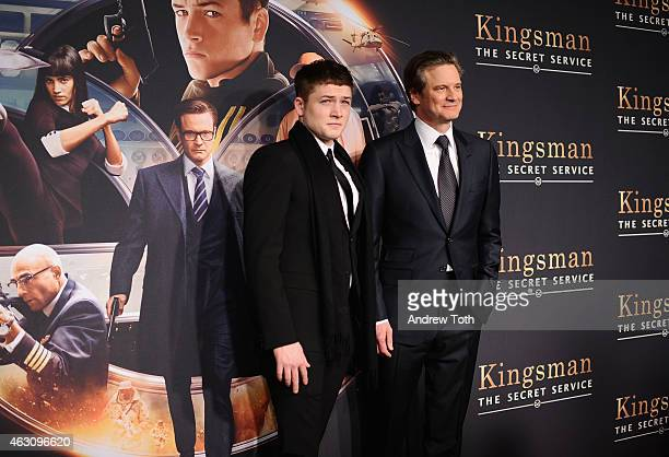 Taron Egerton and Colin Firth attend the 'Kingsman The Secret Service' New York premiere at SVA Theater on February 9 2015 in New York City