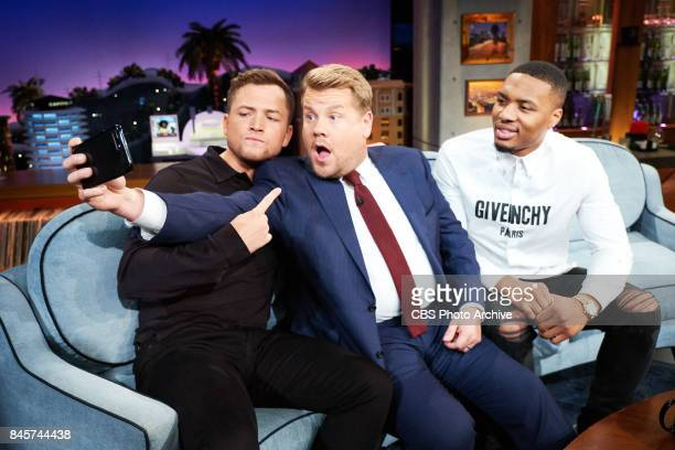 Taron Egerton and Damian Lillard chat with James Corden during 'The Late Late Show with James Corden' Friday September 8 2017 On The CBS Television...