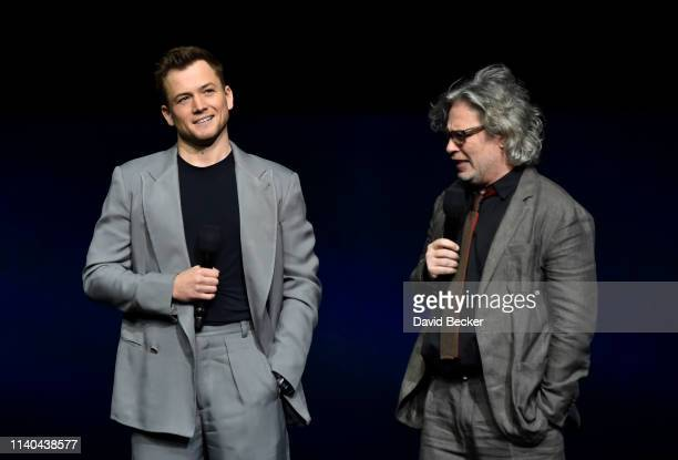 Taron Egerton and Dexter Fletcher of Rocketman attend the Paramount Pictures CinemaCon® 2019 Presentation held at The Colosseum at Caesars Palace on...