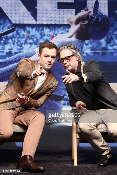 Taron Egerton and Dexter Fletcher pose for photographs during the press conference for 'Rocketman' South Korea premiere on May 23, 2019 in Seoul,...