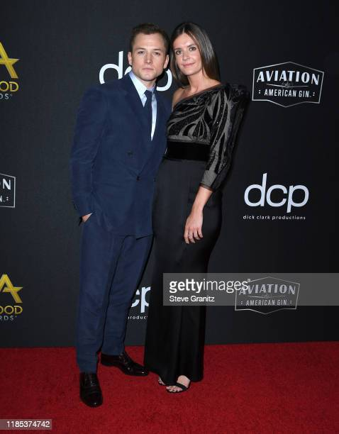 Taron Egerton and Emily Thomas arrives at the 23rd Annual Hollywood Film Awards at The Beverly Hilton Hotel on November 03, 2019 in Beverly Hills,...