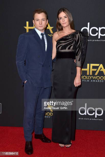 Taron Egerton and Emily Thomas attend the 23rd Annual Hollywood Film Awards at The Beverly Hilton Hotel on November 03, 2019 in Beverly Hills,...