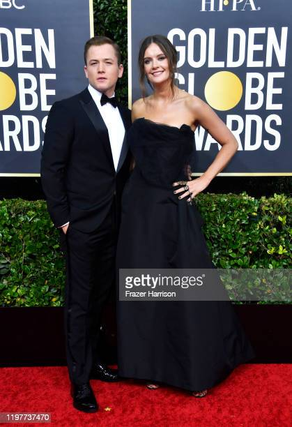 Taron Egerton and Emily Thomas attend the 77th Annual Golden Globe Awards at The Beverly Hilton Hotel on January 05 2020 in Beverly Hills California