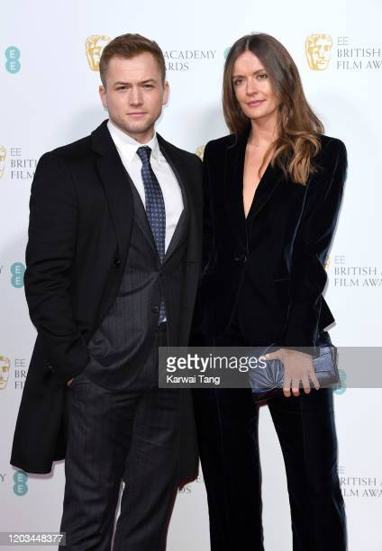 Taron Egerton and Emily Thomas attend the EE British Academy Film Awards 2020 Nominees' Party at Kensington Palace on February 01 2020 in London...