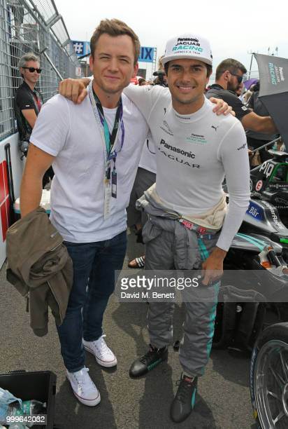 Taron Egerton and Formula E racing driver Nelson Piquet Jr attend the Formula E 2018 Qatar Airways New York City E-Prix, the double header season...