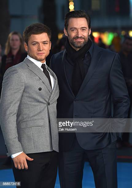Taron Egerton and Hugh Jackman arriving at the European premiere of Eddie the Eagle at the Odeon Leicester Square in London