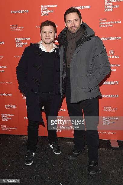 Taron Egerton and Hugh Jackman attend Community/Townie Tuesday during the 2016 Sundance Film Festival at Library Center Theater on January 26 2016 in...