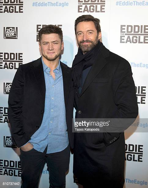 Taron Egerton and Hugh Jackman attends 'Eddie the Eagle' screening at Kerasotes Showplace ICON on February 16 2016 in Chicago Illinois