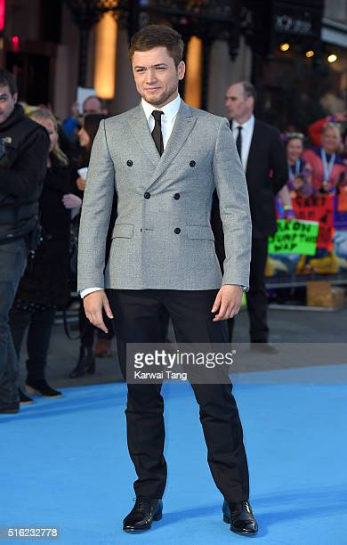 Taron Egerton arrives for the European premiere of 'Eddie The Eagle' at Odeon Leicester Square on March 17 2016 in London England