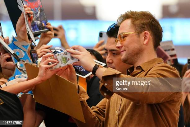 Taron Egerton arrives into Haneda Airport in support of the Rocketman Japan Premiere on August 13 2019 in Tokyo Japan