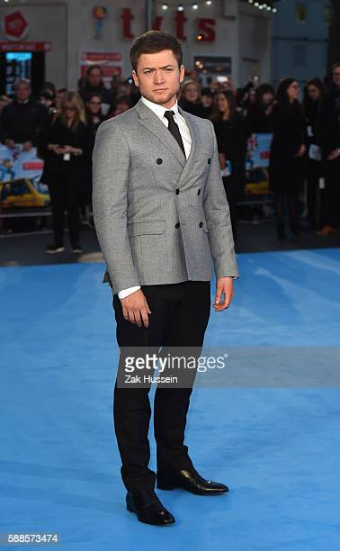 Taron Egerton arriving at the European premiere of Eddie the Eagle at the Odeon Leicester Square in London