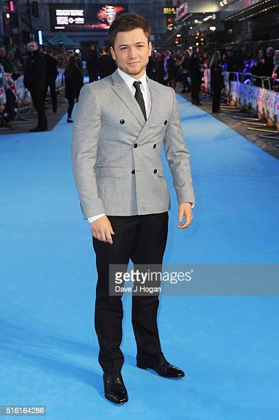 Taron Egerton attends the European premiere of 'Eddie The Eagle' at Odeon Leicester Square on March 17 2016 in London England