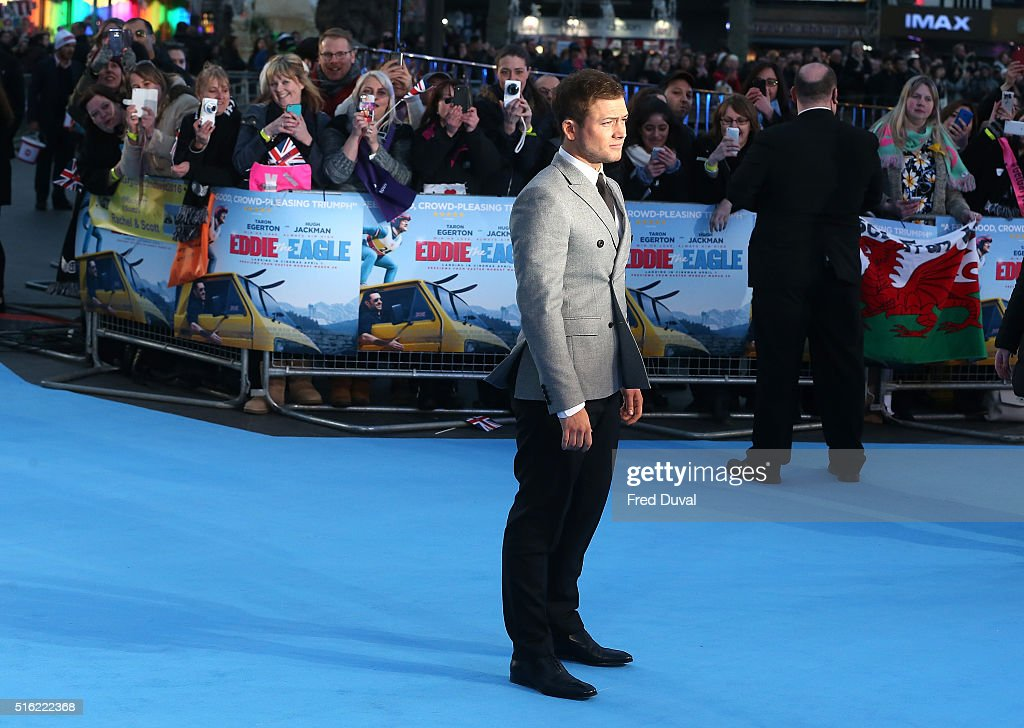 Taron Egerton attends the European Premiere of 'Eddie The Eagle' at Odeon Leicester Square on March 17, 2016 in London, England.