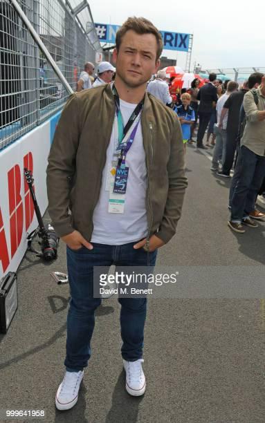 Taron Egerton attends the Formula E 2018 Qatar Airways New York City E-Prix, the double header season finale of the 2017/18 ABB FIA Formula E...