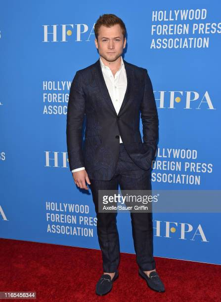 Taron Egerton attends the Hollywood Foreign Press Association's Annual Grants Banquet at Regent Beverly Wilshire Hotel on July 31 2019 in Beverly...