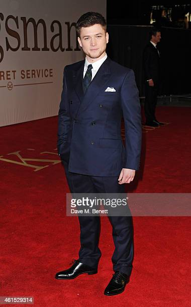 Taron Egerton attends the World Premiere of 'Kingsman The Secret Service' at Odeon Leicester Square on January 14 2015 in London England