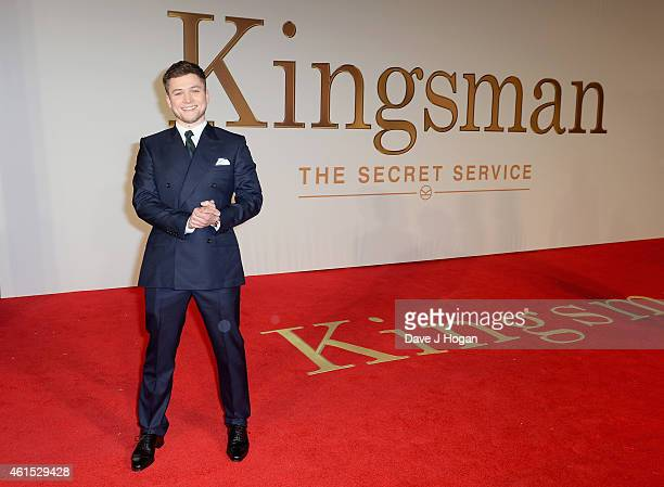 Taron Egerton attends the World Premiere of 'Kingsman The Secret Service' at the Odeon Leicester Square on January 14 2015 in London England
