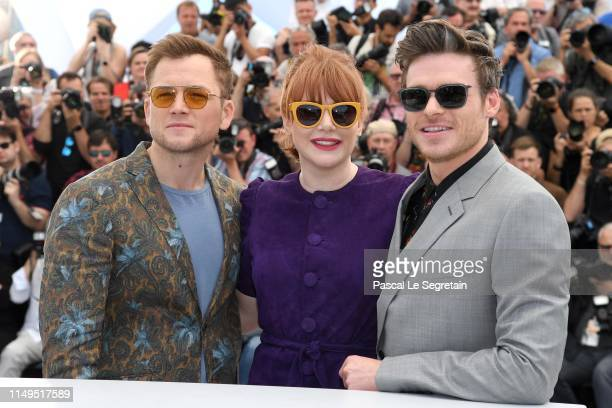 """Taron Egerton, Bryce Dallas Howard and Richard Madden attend the photocall for """"Rocketman"""" during the 72nd annual Cannes Film Festival on May 16,..."""