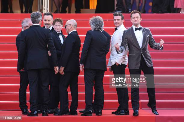 Taron Egerton celebrates prior to the screening of Rocketman during the 72nd annual Cannes Film Festival on May 16 2019 in Cannes France