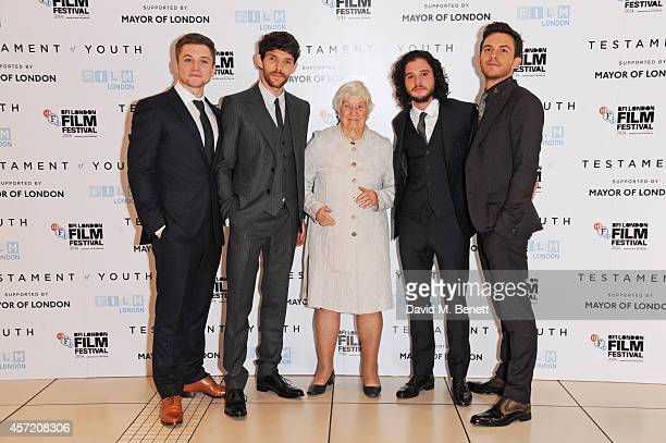 Taron Egerton Colin Morgan Dame Shirley Williams Kit Harington and Jonathan Bailey attend a screening of Testament of Youth during the 58th BFI...