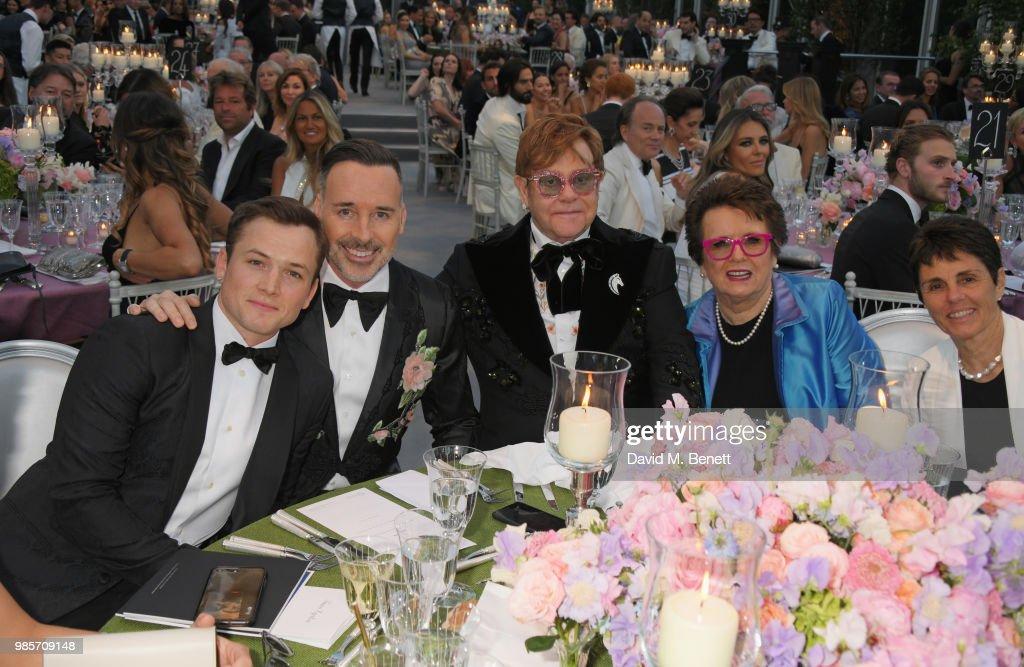 Taron Egerton, David Furnish, Sir Elton John, Billie Jean King and Ilana Kloss attend the Argento Ball for the Elton John AIDS Foundation in association with BVLGARI & Bob and Tamar Manoukian on June 27, 2018 in Windsor, England.