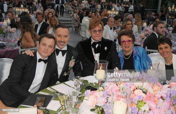 Taron Egerton David Furnish Sir Elton John Billie Jean King and Ilana Kloss attend the Argento Ball for the Elton John AIDS Foundation in association...