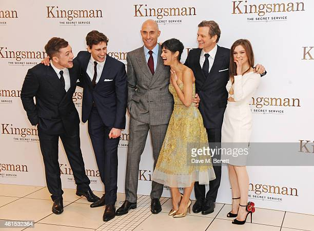 Taron Egerton Edward Holcroft Mark Strong Sofia Boutella Colin Firth and Sophie Cookson attend the World Premiere of 'Kingsman The Secret Service' at...