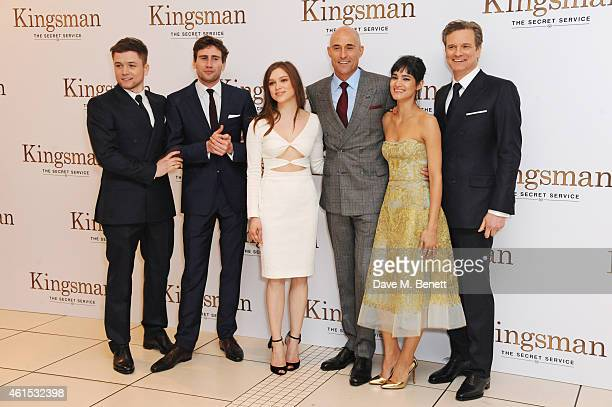 Taron Egerton Edward Holcroft Sophie Cookson Mark Strong Sofia Boutella and Colin Firth attend the World Premiere of 'Kingsman The Secret Service' at...