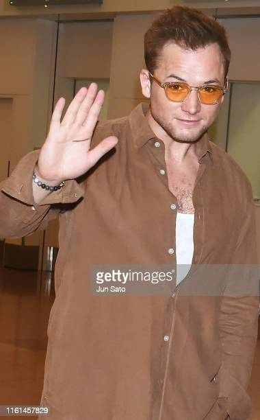 Taron Egerton is seen upon arrival at Haneda Airport on August 13 2019 in Tokyo Japan