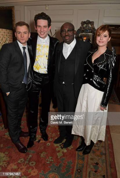 Taron Egerton Josh O'Connor EditorInChief of British Vogue Edward Enninful and Jessie Buckley attend the Charles Finch CHANEL PreBAFTA Party at 5...