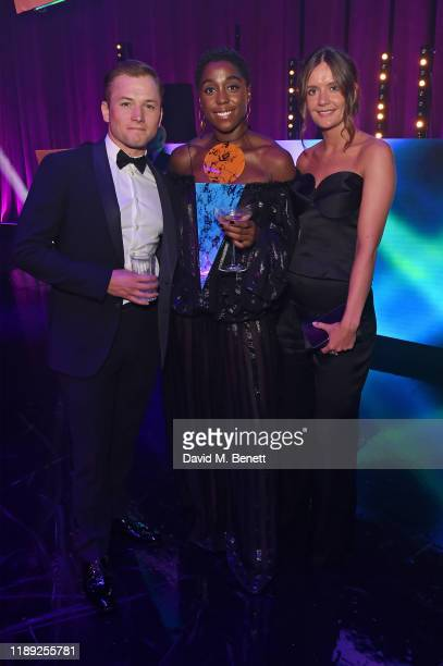 Taron Egerton Lashana Lynch and Emma Thomas attend the after party of the 65th Evening Standard Theatre Awards In Association With Michael Kors at...
