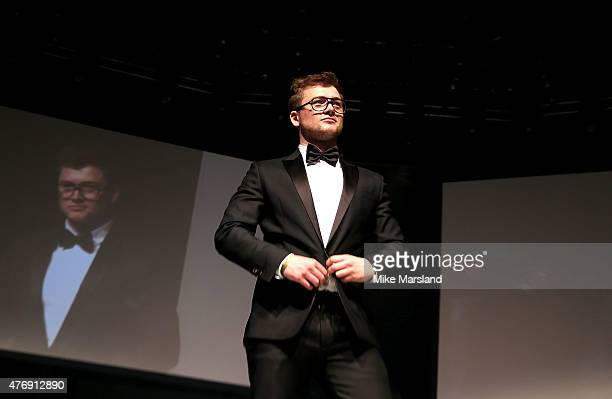 Taron Egerton on the catwalk during One For The Boys Fashion Ball hosted by Samuel L Jackson uniting men against cancer to kick start London...