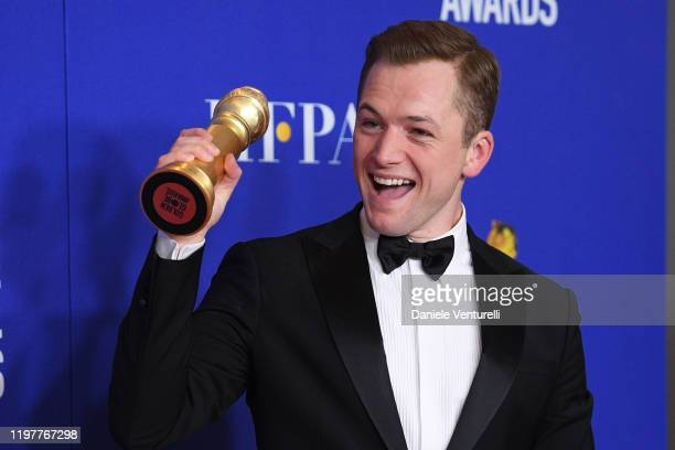 Taron Egerton poses in the press room during the 77th Annual Golden Globe Awards at The Beverly Hilton Hotel on January 05 2020 in Beverly Hills...