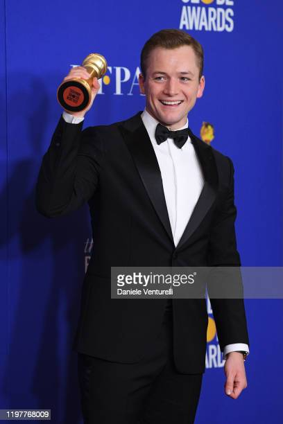 Taron Egerton poses in the press room during the 77th Annual Golden Globe Awards at The Beverly Hilton Hotel on January 05, 2020 in Beverly Hills,...