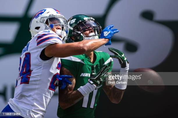 Taron Johnson of the Buffalo Bills breaks up a pass intended for Robby Anderson of the New York Jets during the second quarter at MetLife Stadium on...
