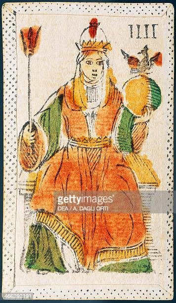 Tarot card depicting the High Priestess Italy 16th century