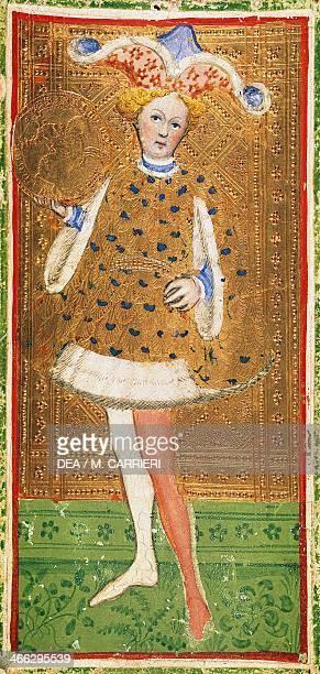 Tarot card depicting the Knight of cups from the BreraBrambilla deck workshop of Bonifacio Bembo Italy 15th century